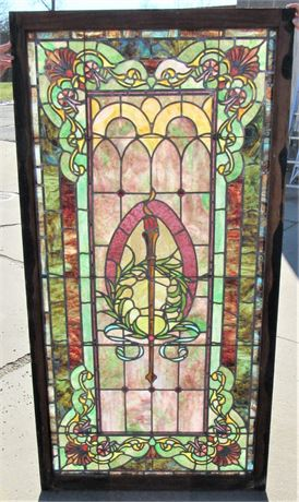 Large Stunning Leaded Jeweled Stained Glass Window
