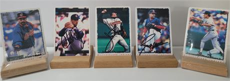 Lot of 5 Porcelain Baseball Cards, 3 Signed by Thome, Ogea, and Mesa