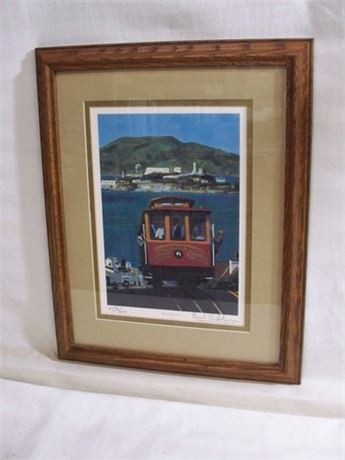 THE CABLE CAR - BUD GIBBONS - FRAMED DOUBLE MATTED SIGNED &  NUMBERED (#258/300)