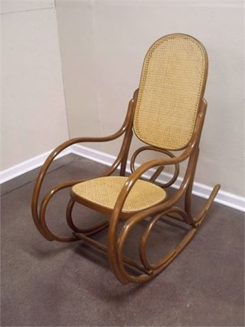 THONET STYLE BENTWOOD CANE ROCKING CHAIR