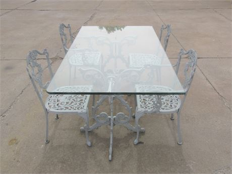 Glass Top Patio Table with Powder Coated Aluminum Trestle Base and 4 Chairs