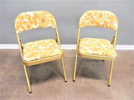 Two Vintage Yellow Metal Folding Chairs