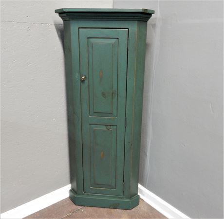 Green Wood Corner Cabinet