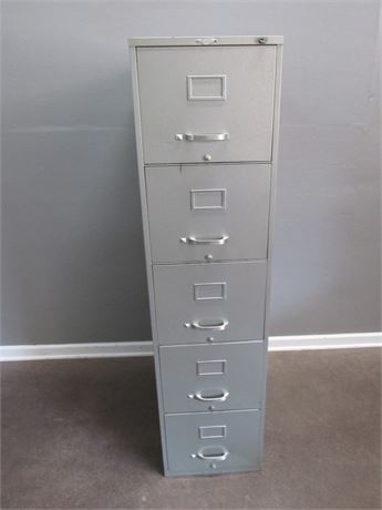 Vintage Gray Art Metal 5-Drawer File Cabinet