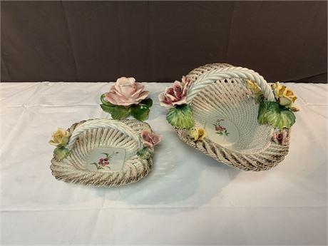 Vintage CAPODIMONTE Porcelain Rose Flower Basket
