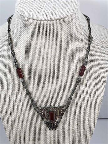 Sterling Silver & Carnelian Necklace