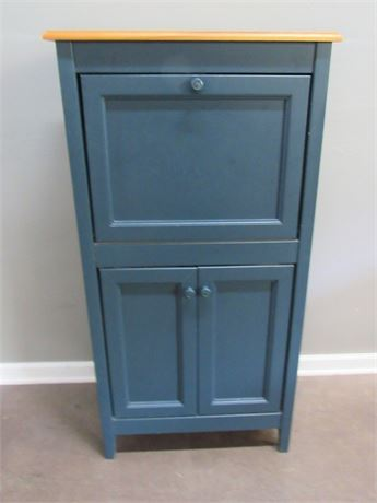 Painted Cabinet with Fold-Down Secretary/Desktop
