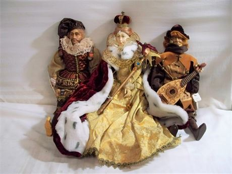 3 PORCELAIN DOLLS - QUEEN VICTORIA, THE SCRIBE AND COURT JESTER
