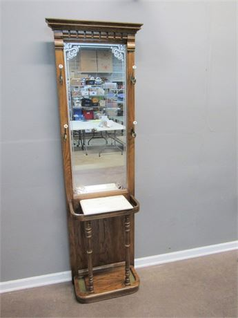 Oak Hall Tree with Mirror and Marble Top