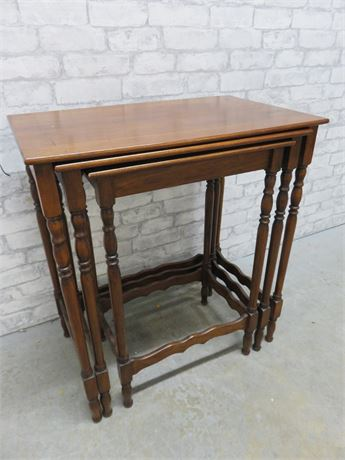 Antique English Mahogany Nesting Table Set