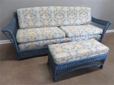 Wicker Sofa & Ottoman Set
