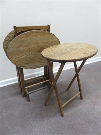 4-Piece Oak TV Tray Table Set with Stand