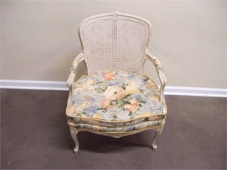 CANE BACK CHAIR WITH FLORAL SEAT CUSHION
