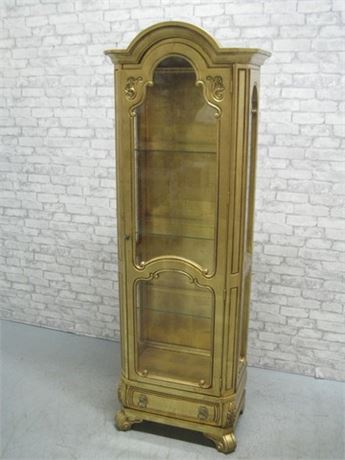 TALL NARROW ORNATE GOLD FINISHED DISPLAY CABINET