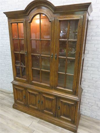 Drexel Lighted Oak China Hutch