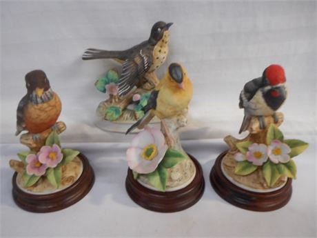 4 DECORATIVE BIRD FIGURINES INCLUDES ROYAL CROWN AND ANDREA - SADEK