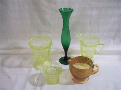 5 PIECE VINTAGE GLASS LOT