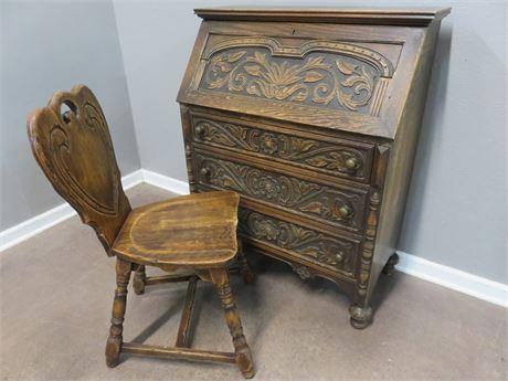 Antique FEUDAL OAK Slant Front Secretary Desk & Chair