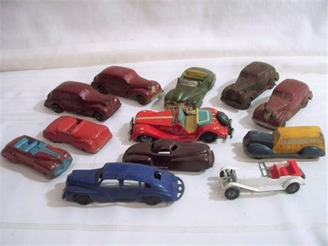 12 PIECE VINTAGE TOY CAR LOT