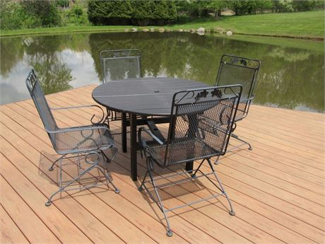 Outdoor/Patio Resin Table and 4 Wrought Iron Spring Rocking Chairs