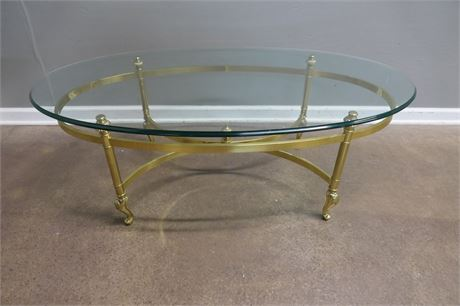 Oval Glass Top table on Brass