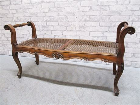 VINTAGE CARVED BENCH WITH CANED SEAT