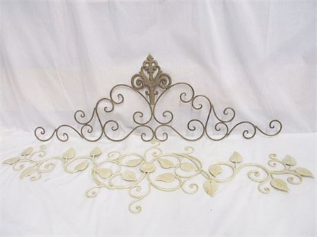 LOT OF 2 COORDINATING METAL WALL SWAGS