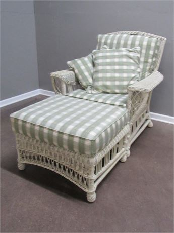 Lexington Casual White Wicker Chair and Ottoman with Plaid Cushions