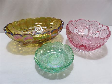 3-Piece Scalloped Top Pressed Glass Bowl Lot