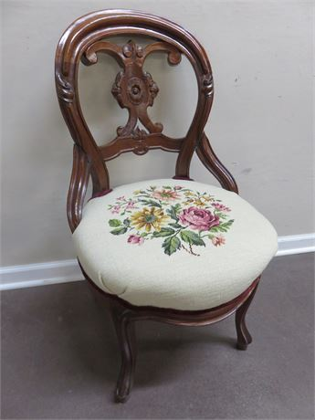 Vintage Needlepoint Accent Chair