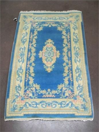 SMALL BLUE ORIENTAL FLORAL THROW RUG