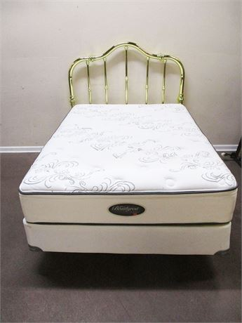 BEAUTIFUL FULL BRASS HEADBOARD WITH FRAME, MATTRESS, AND BOX SPRING