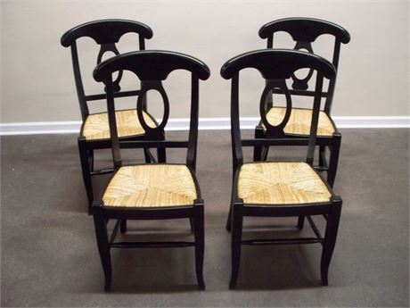 4 POTTERY BARN NAPOLEON BLACK RUSH SEAT CHAIRS