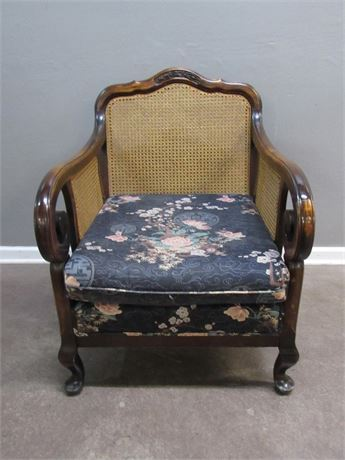 Vintage Cane Seat Side Chair with Asian Motif Upholstered Seat