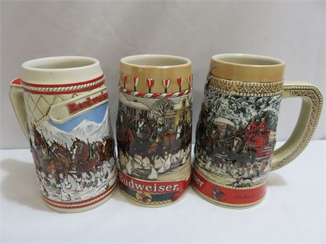 3 BUDWEISER Limited Edition Clydesdale Steins - 1985 - 1986 - 1987