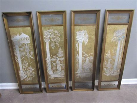 4 Vintage Hand-Painted Reverse Glass Artworks