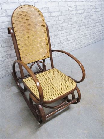 VINTAGE BENTWOOD CANED ROCKING CHAIR