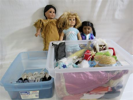 3 PLEASANT CO. AMERICAN GIRL DOLLS PLUS A BIN OF CLOTHES AND 9 PAIRS OF SHOES