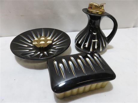 Vintage Mid-Century EVANS Porcelain Cigarette Lighter Set
