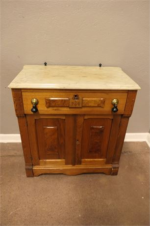 Vintage Victorian Marble Top Wash Stand with Dovetail Drawer & Cabinet