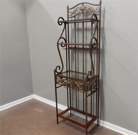 Brushed Brass and Wood Etagere