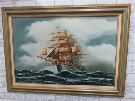 RENATO LONGANESI Clipper Ship Canvas Painting (Signed)
