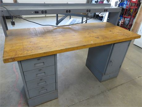 Industrial Workbench with Solid Maple Top