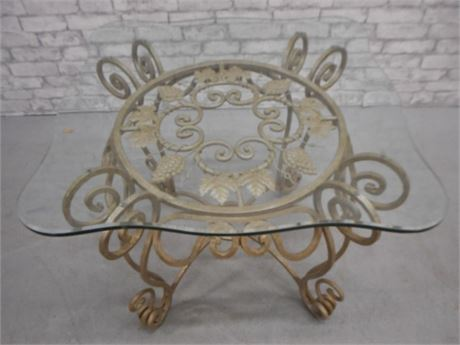 VERY NICE BEVELED GLASS & WROUGHT IRON END/SIDE TABLE