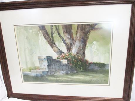 WATERCOLOR BY LOCAL ARTIST MARC MOON - SIGNED