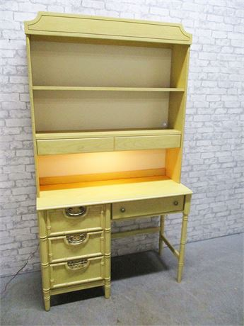 4-DRAWER BASSETT DESK WITH LIGHTED HUTCH