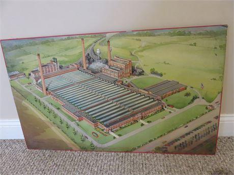 Vintage 1940s Industrial Rayon Corporation Plant Illustration