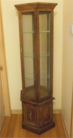 CURIO CABINET WITH GLASS SHELVES AND MIRRORED BACK