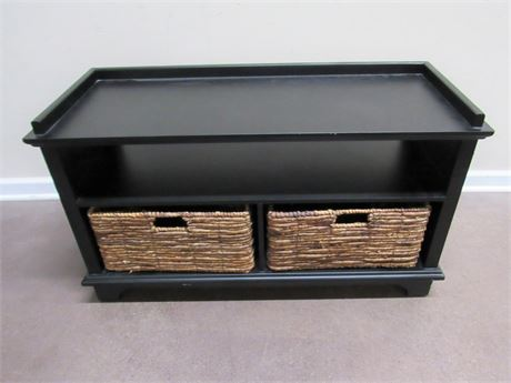 NICE BLACK BENCH - STORAGE AREA WITH 2 WOVEN BASKETS