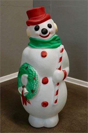 Vintage Empire Outdoor Plastic Blow Mold Snowman with cane and wreath, lights up